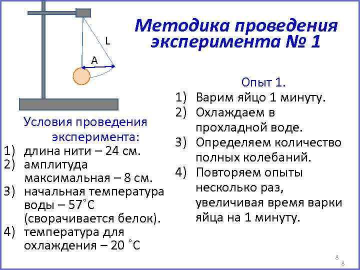 L А Методика проведения эксперимента № 1 1) 2) 3) 4) Условия проведения эксперимента: