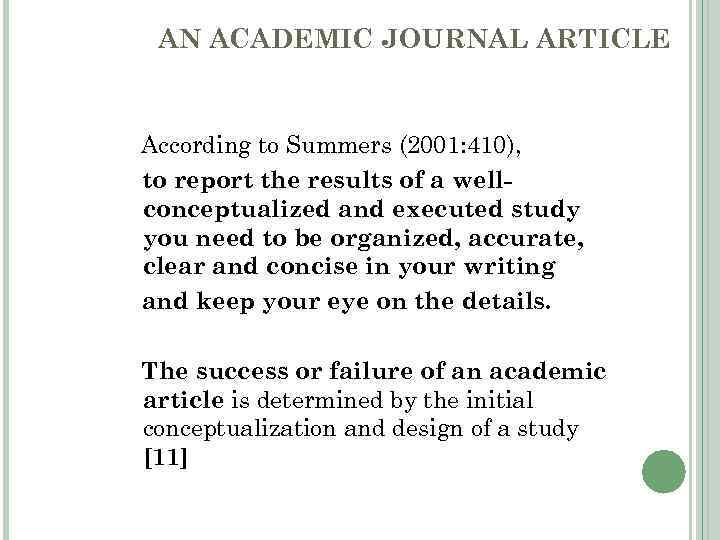 writing an academic article