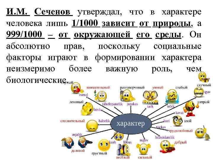 И. М. Сеченов утверждал, что в характере человека лишь 1/1000 зависит от природы, а