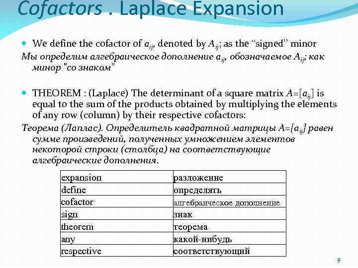 Cofactors. Laplace Expansion We define the cofactor of aij, denoted by Aij; as the