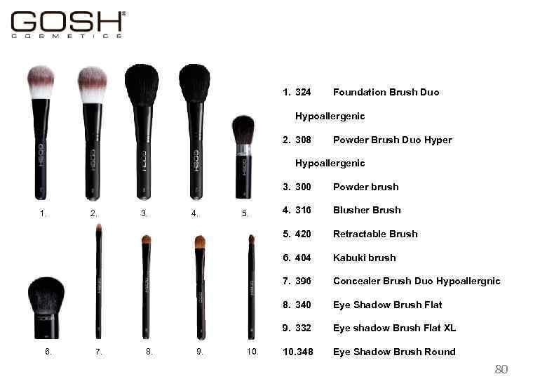 1. 324 Foundation Brush Duo Hypoallergenic 2. 308 Powder Brush Duo Hyper Hypoallergenic 3.