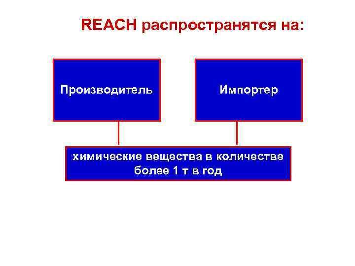 REACH распространятся на: Производитель Импортер химические вещества в количестве более 1 т в год
