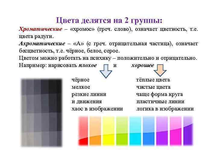 Цвета делятся на 2 группы: Хроматические – «хромос» (греч. слово), означает цветность, т. е.
