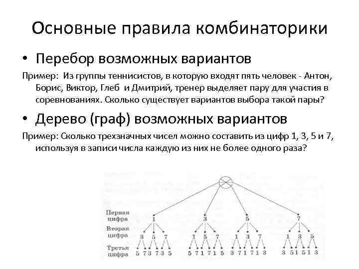 Основные правила комбинаторики • Перебор возможных вариантов Пример: Из группы теннисистов, в которую входят