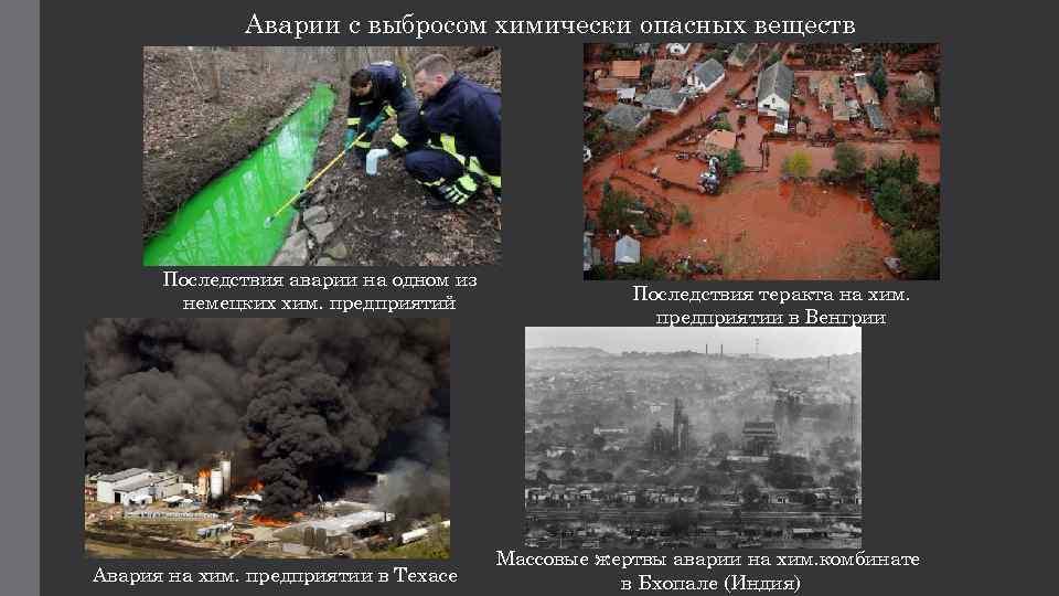 Аварии с выбросом химически опасных веществ Последствия аварии на одном из немецких хим. предприятий