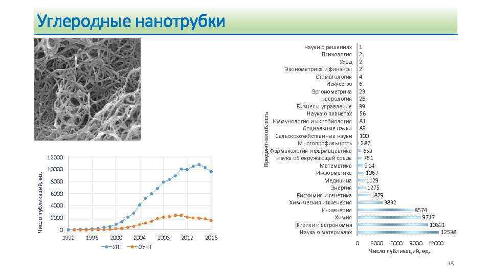 Предметная область Углеродные нанотрубки Число публикаций, ед. 12000 10000 8000 6000 4000 2000 0