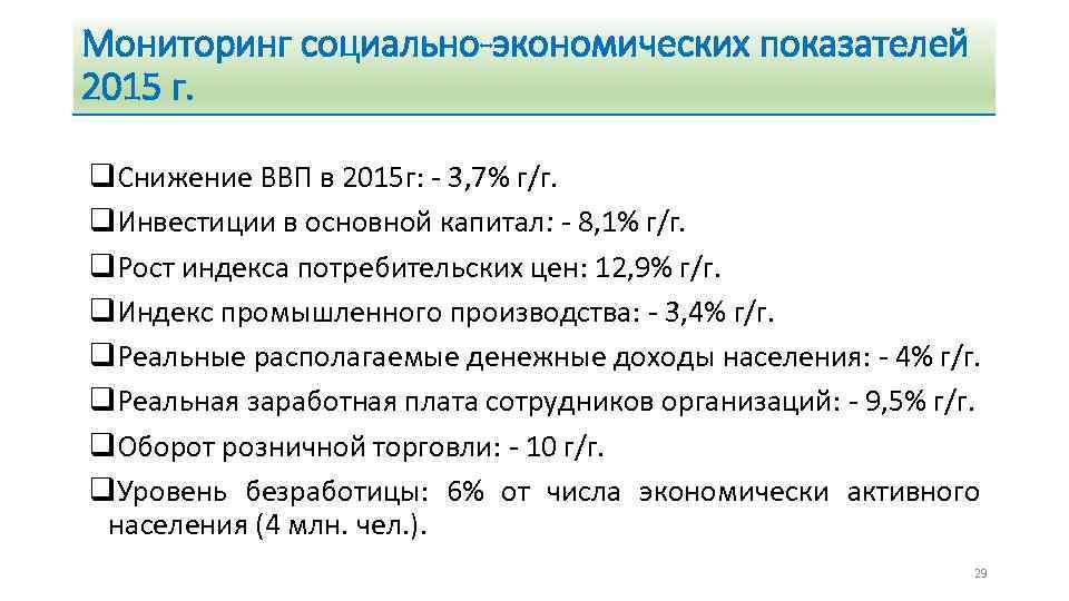 Мониторинг социально-экономических показателей 2015 г. q. Снижение ВВП в 2015 г: - 3, 7%