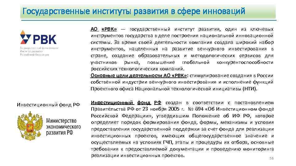 Государственные институты развития в сфере инноваций АО «РВК» — государственный институт развития, один из