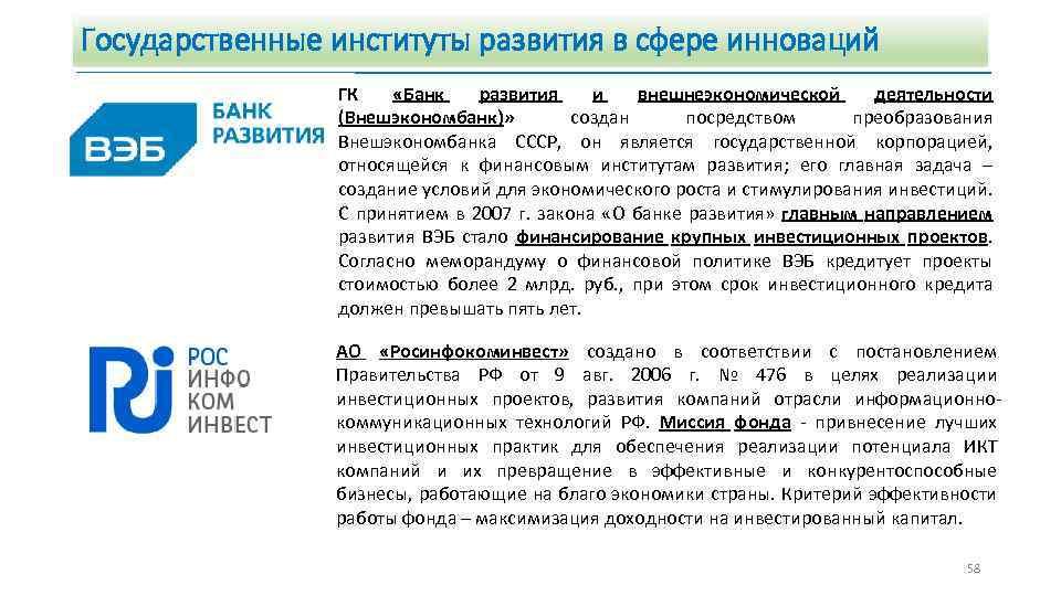Государственные институты развития в сфере инноваций ГК «Банк развития и внешнеэкономической деятельности (Внешэкономбанк)» создан