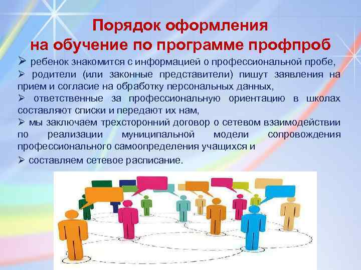 Порядок оформления на обучение по программе профпроб Ø ребенок знакомится с информацией о профессиональной