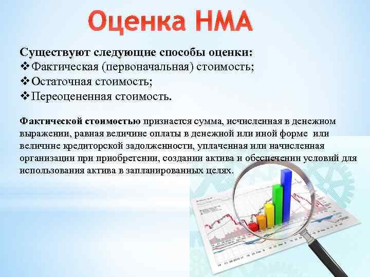 Оценка НМА Существуют следующие способы оценки: v. Фактическая (первоначальная) стоимость; v. Остаточная стоимость; v.
