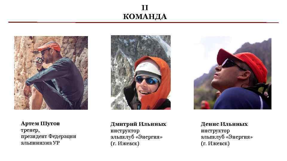 II КОМАНДА Артем Шутов тренер, президент Федерации альпинизма УР Дмитрий Ильиных инструктор альпклуб «Энергия»