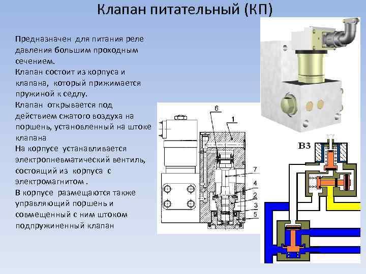 Клапан питательный (КП) Предназначен для питания реле давления большим проходным сечением. Клапан состоит из