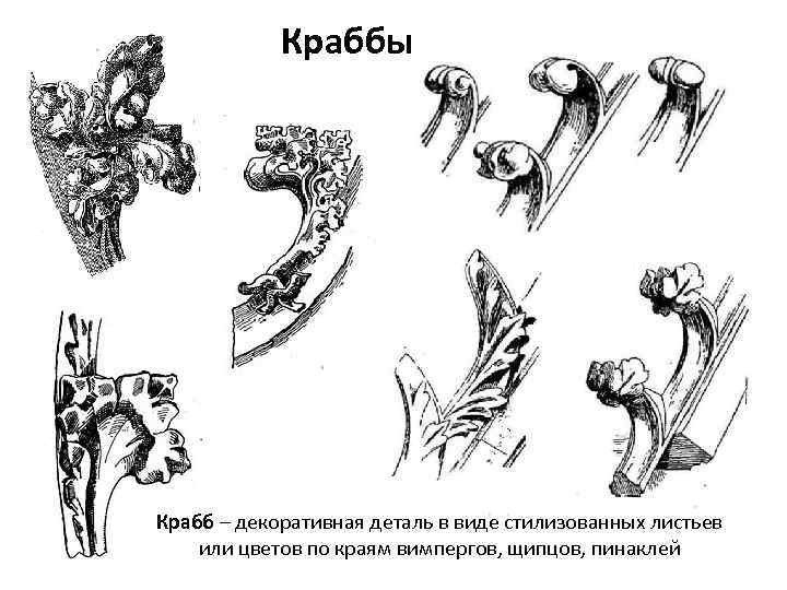 Краббы Крабб – декоративная деталь в виде стилизованных листьев или цветов по краям вимпергов,