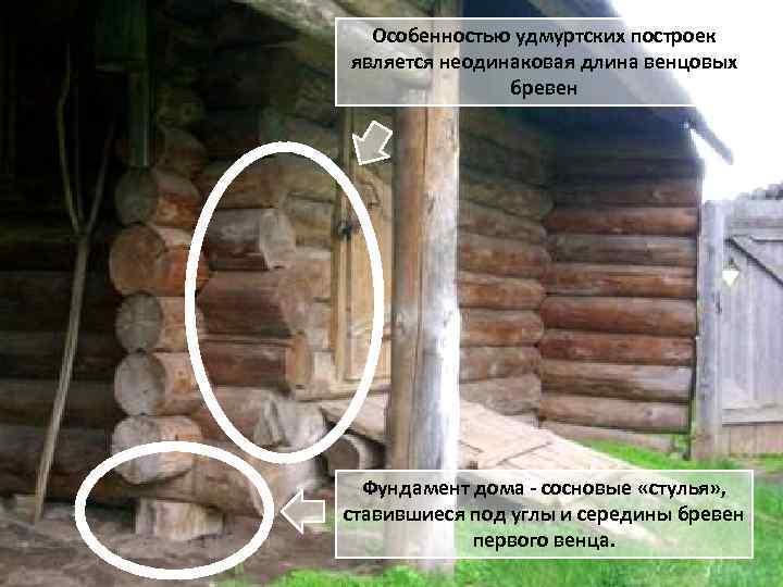 Особенностью удмуртских построек является неодинаковая длина венцовых бревен Фундамент дома - сосновые «стулья» ,