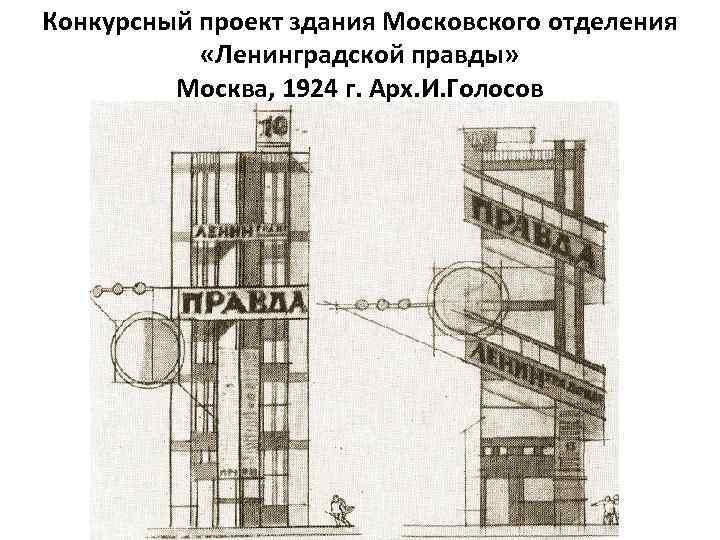 Конкурсный проект здания Московского отделения «Ленинградской правды» Москва, 1924 г. Арх. И. Голосов