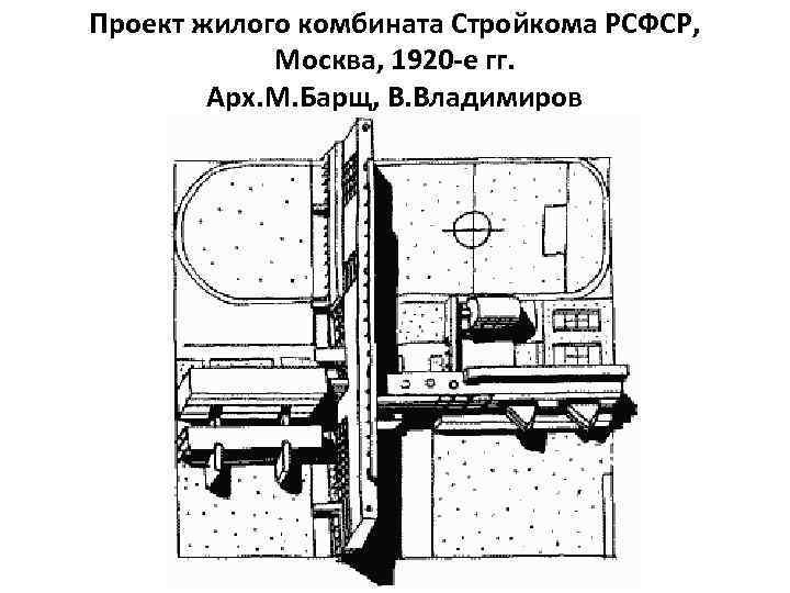 Проект жилого комбината Стройкома РСФСР, Москва, 1920 -е гг. Арх. М. Барщ, В. Владимиров