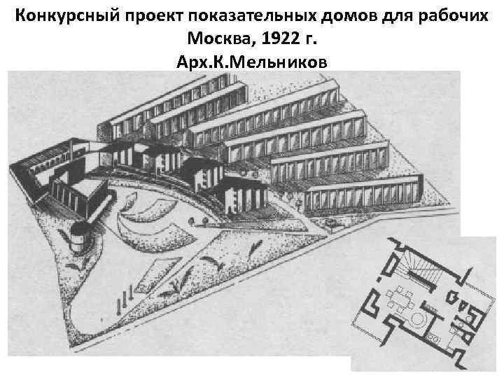 Конкурсный проект показательных домов для рабочих Москва, 1922 г. Арх. К. Мельников