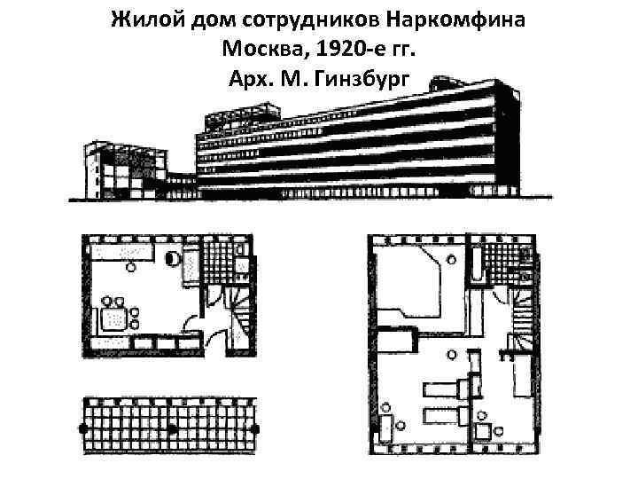 Жилой дом сотрудников Наркомфина Москва, 1920 -е гг. Арх. М. Гинзбург