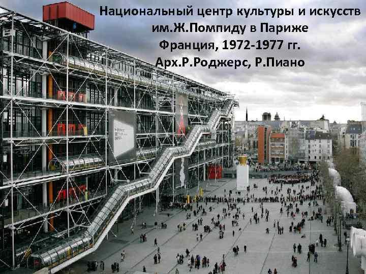 Национальный центр культуры и искусств им. Ж. Помпиду в Париже Франция, 1972 -1977 гг.