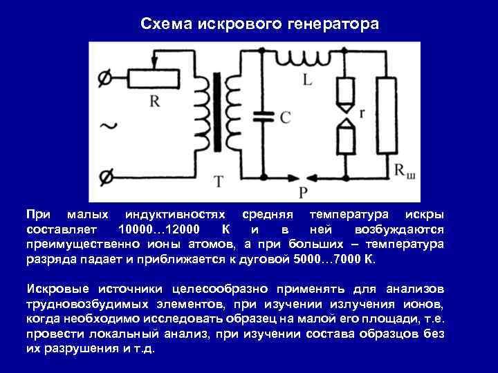 Схема искрового генератора При малых индуктивностях средняя температура искры составляет 10000… 12000 К и