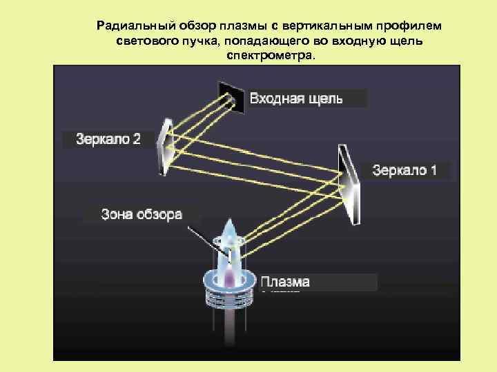 Радиальный обзор плазмы с вертикальным профилем светового пучка, попадающего во входную щель спектрометра.