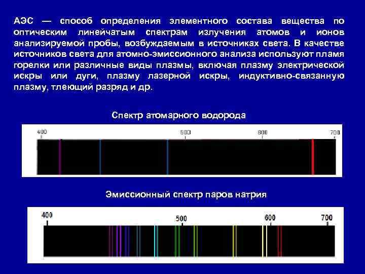 АЭС — способ определения элементного состава вещества по оптическим линейчатым спектрам излучения атомов и