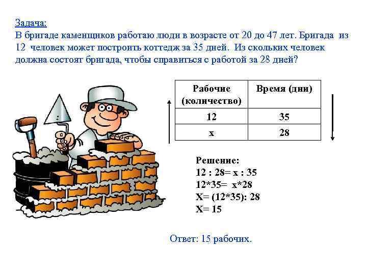 Задача: В бригаде каменщиков работаю люди в возрасте от 20 до 47 лет. Бригада