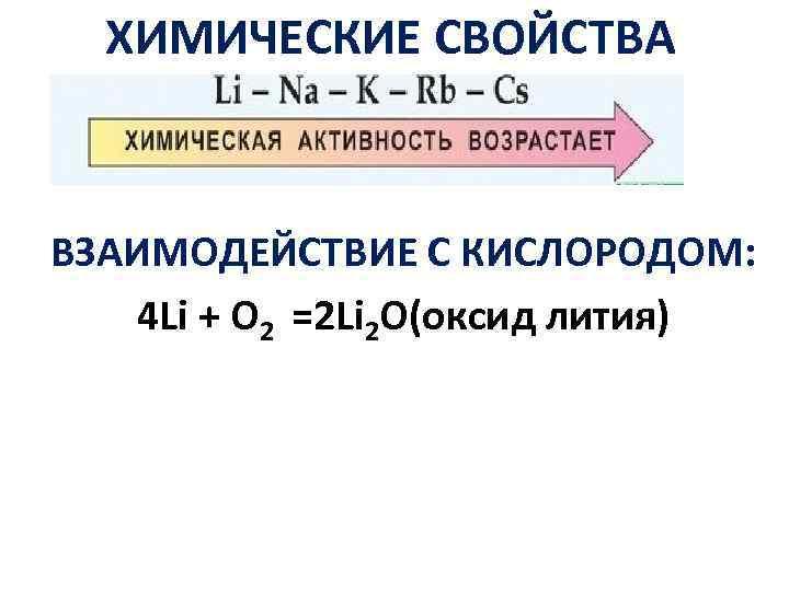 ХИМИЧЕСКИЕ СВОЙСТВА ВЗАИМОДЕЙСТВИЕ С КИСЛОРОДОМ: 4 Li + O 2 =2 Li 2 O(оксид