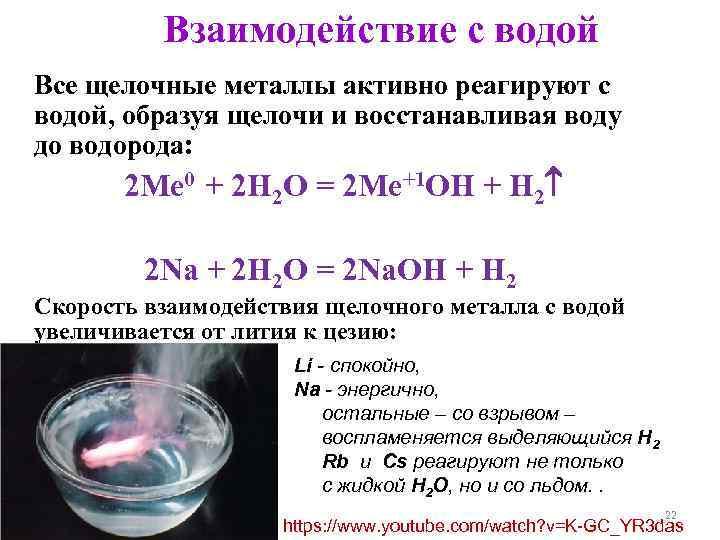 Взаимодействие с водой Все щелочные металлы активно реагируют с водой, образуя щелочи и восстанавливая