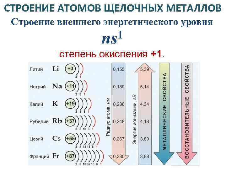 СТРОЕНИЕ АТОМОВ ЩЕЛОЧНЫХ МЕТАЛЛОВ Строение внешнего энергетического уровня 1 ns степень окисления +1.