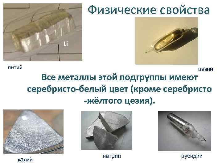 Физические свойства Li литий цезий Все металлы этой подгруппы имеют серебристо-белый цвет (кроме серебристо