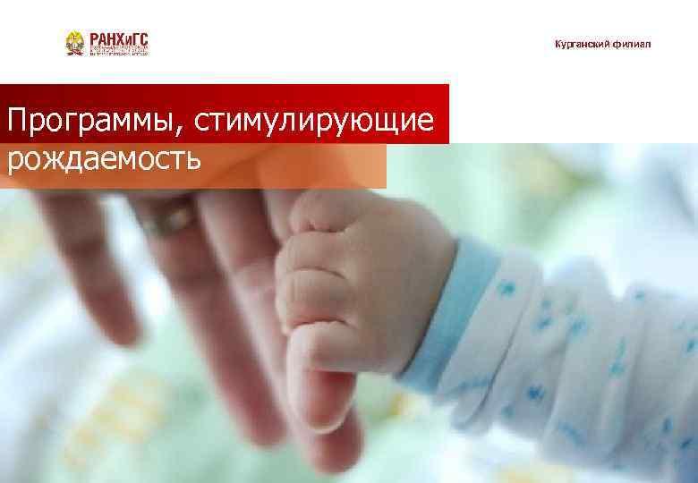 Курганский филиал Программы, стимулирующие рождаемость