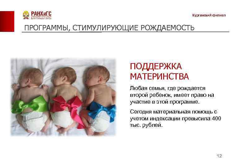 Курганский филиал ПРОГРАММЫ, СТИМУЛИРУЮЩИЕ РОЖДАЕМОСТЬ ПОДДЕРЖКА МАТЕРИНСТВА Любая семья, где рождается второй ребенок, имеет