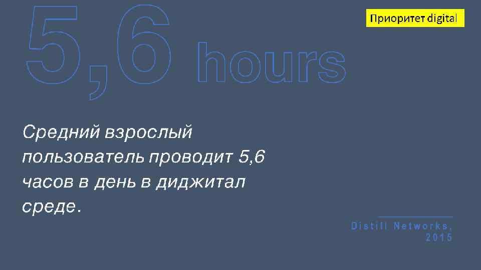 5, 6 hours Приоритет digital Средний взрослый пользователь проводит 5, 6 часов в день