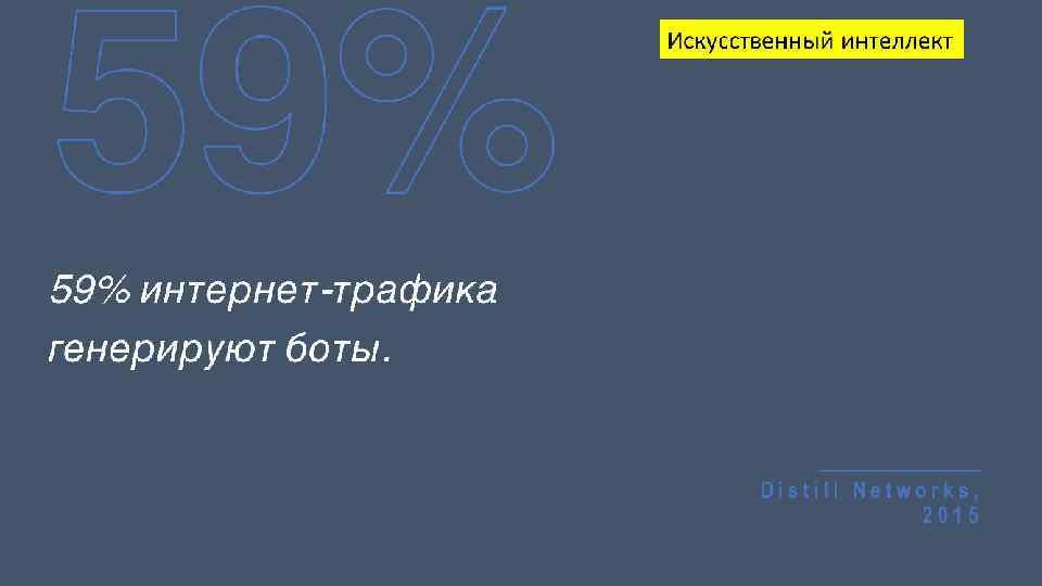 59% Искусственный интеллект 59% интернет-трафика генерируют боты. Distill Networks, 2015
