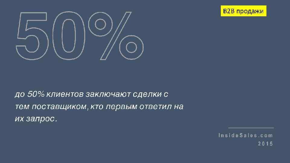 50% B 2 B продажи до 50% клиентов заключают сделки с тем поставщиком, кто
