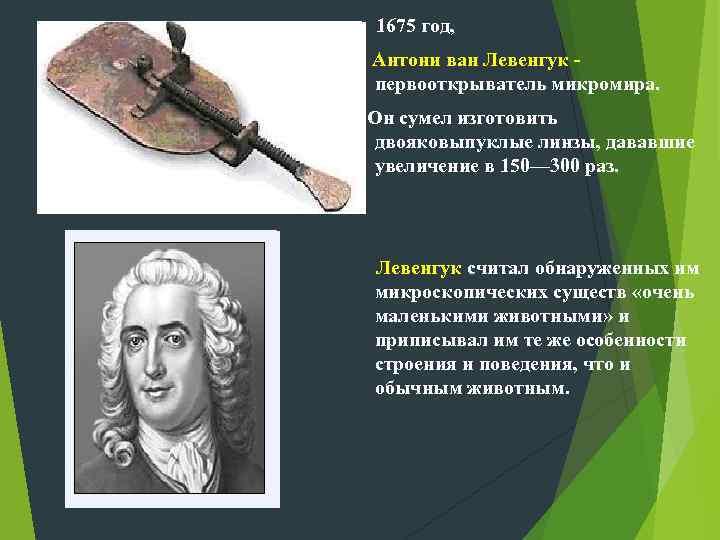 1675 год, Антони ван Левенгук - первооткрыватель микромира. Он сумел изготовить двояковыпуклые линзы, дававшие