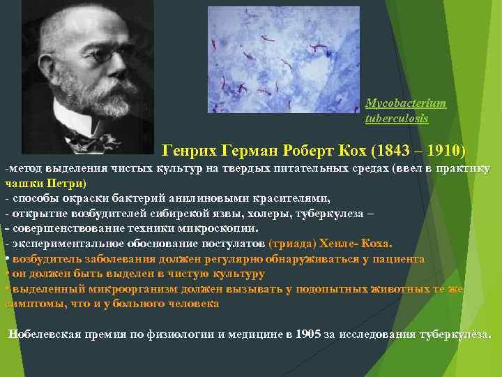 Mycobacterium tuberculosis Генрих Герман Роберт Кох (1843 – 1910) -метод выделения чистых культур на
