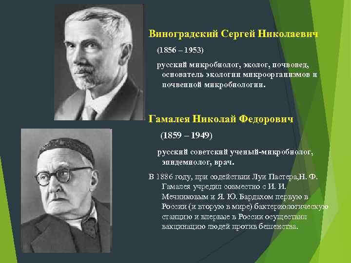 Виноградский Сергей Николаевич (1856 – 1953) русский микробиолог, эколог, почвовед, основатель экологии микроорганизмов и