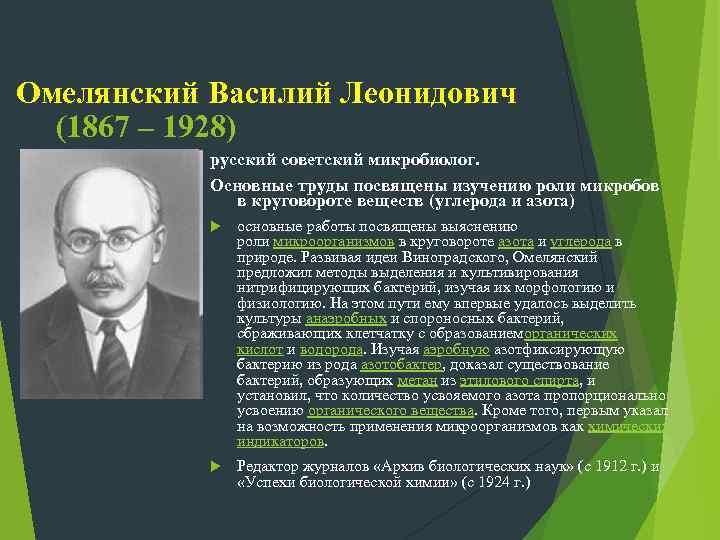 Омелянский Василий Леонидович (1867 – 1928) русский советский микробиолог. Основные труды посвящены изучению роли