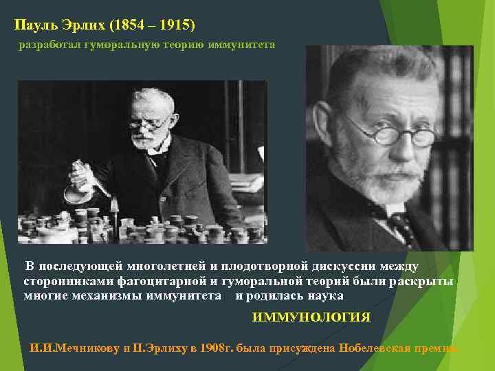 Пауль Эрлих (1854 – 1915) разработал гуморальную теорию иммунитета В последующей многолетней и плодотворной