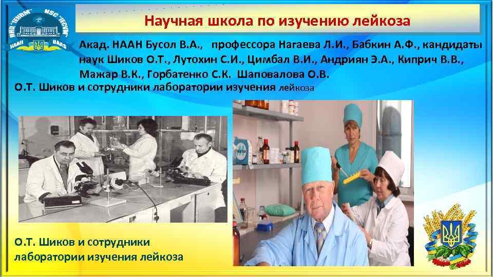 Научная школа по изучению лейкоза Акад. НААН Бусол В. А. , профессора Нагаева