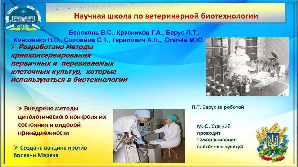 Научная школа по ветеринарной биотехнологии Белоконь В. С. , Красников Г. А. , Берус