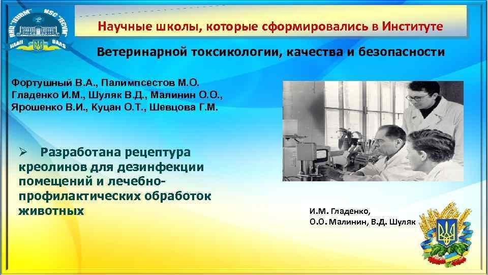 Научные школы, которые сформировались в Институте Ветеринарной токсикологии, качества и безопасности Фортушный В. А.