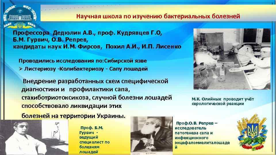 Научная школа по изучению бактериальных болезней Профессора Дедюлин А. В. , проф. Кудрявцев Г.