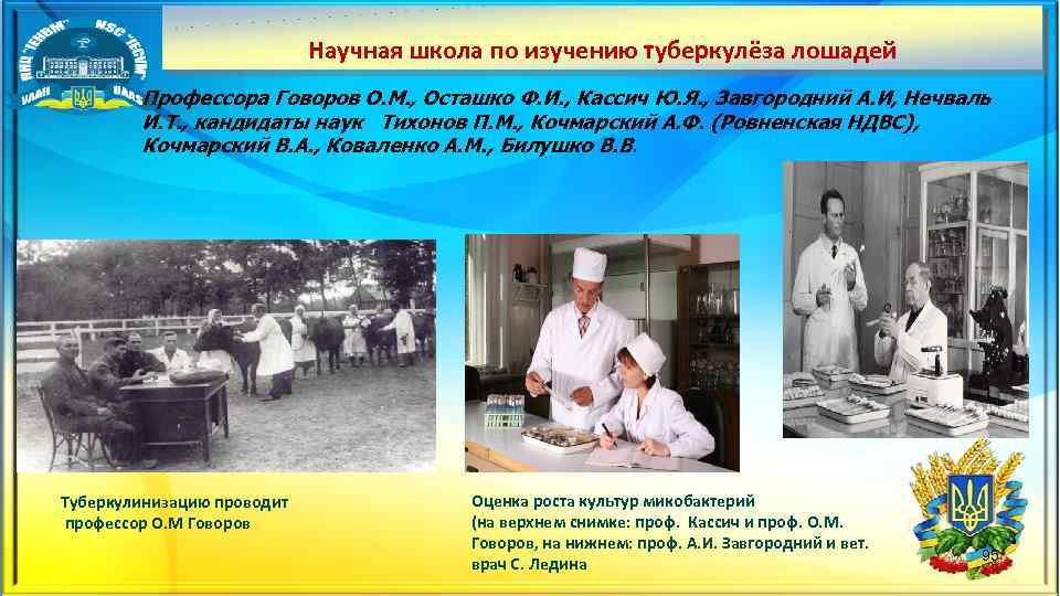 Научная школа по изучению туберкулёза лошадей Профессора Говоров О. М. , Осташко Ф. И.