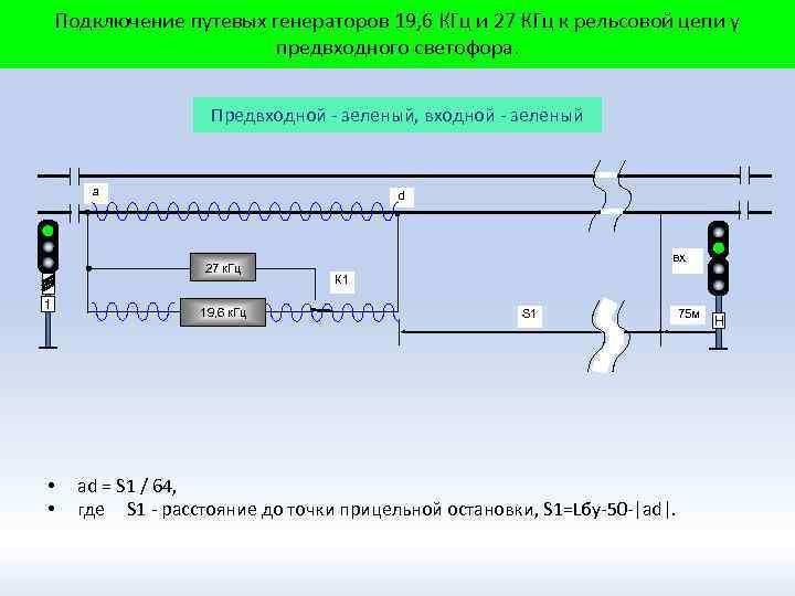 Подключение путевых генераторов 19, 6 КГц и 27 КГц к рельсовой цепи у предвходного