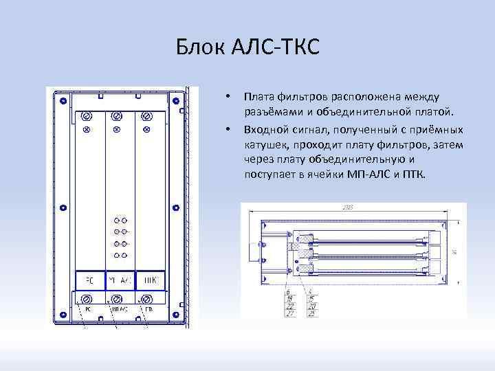Блок АЛС-ТКС • • Плата фильтров расположена между разъёмами и объединительной платой. Входной сигнал,