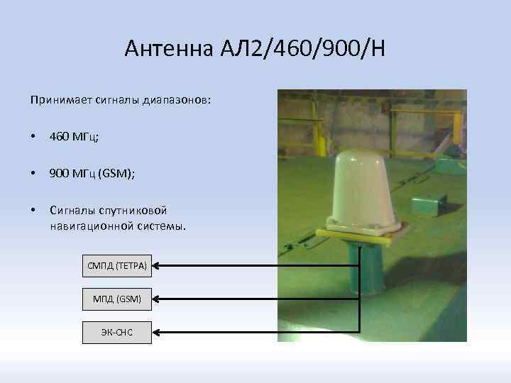 Антенна АЛ 2/460/900/Н Принимает сигналы диапазонов: • 460 МГц; • 900 МГц (GSM); •